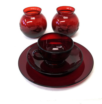 Collection of 5 Vintage Ruby Red Glass Pieces