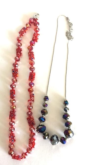 2 Vintage Crystal Necklaces