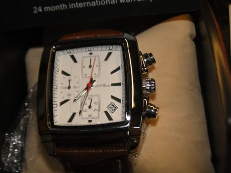 LA-Banus Silver Case & Brown Genuine Leather Men's Watch