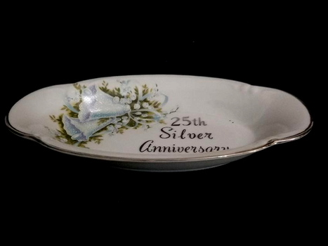 Vintage Saji Japan Ceramic 25Th Anniversary Dish
