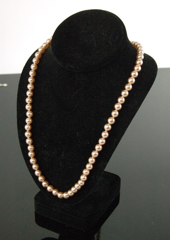 PEARL NECKLACE - ROSE GOLD COLOR PEARLS FROM CZECHOSLOVAKIA