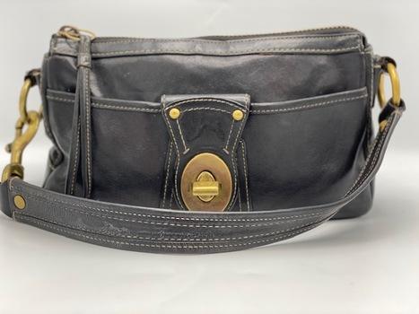 COACH Black Leather Legacy Turnlock Shoulder Purse 10326