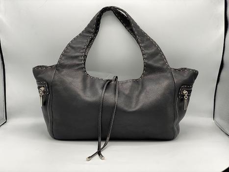 Donald J Pliner Large Black Pebbled Leather Shoulder Bag