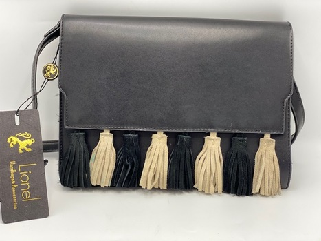New Lionel Black Leather Fringed Annie Bag
