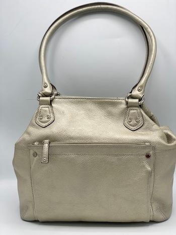Tignanello Silver Leather Shoulder Bag