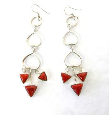 Vintage Pair of Sterling Silver Earrings with Red Stone