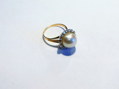 14 Kt Yellow Gold South Sea Pearl Ring Appraised $4,010.00