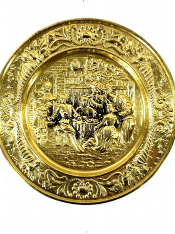 """14.5"""" Hand Made And Hammered Brass Wall Plate - Tavern Scene"""