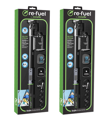 2 -re-fuel by Digipower selfie stickS + 5200mAh Built In Power Bank, $130.00 COMBINED RETAIL