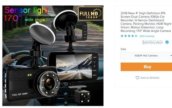 Dual Lens Vehicle Black Box DVR MSRP $615.00