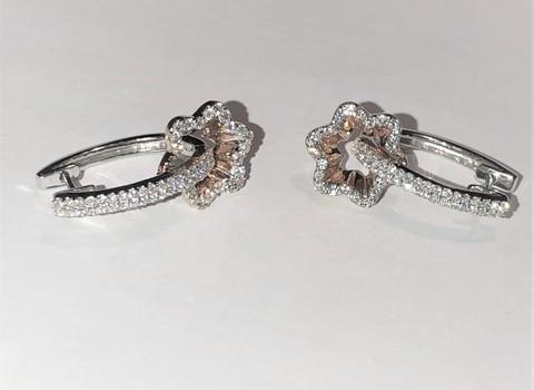 18KT White & Rose Gold 0.60 Carats Diamond Earrings Custom Made Appraised $5,150.00 Cdn