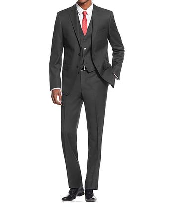 Men's Suit Slim Fit Charcoal 3-Piece Suit - 36S/30W