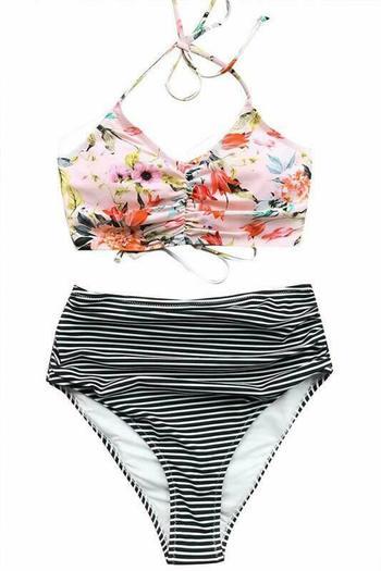 NWT Cupshe Womens This Is Love High Waist Lace Up Halter Bikini Set - Size XXL