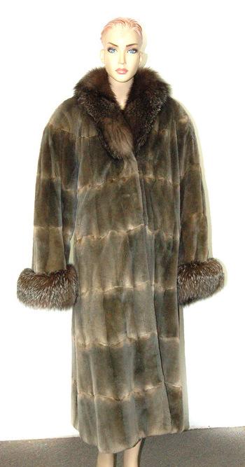 Women's Sheared Mink and Fox Coat-Size XL