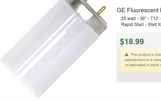 "GE Fluorescent Light Bulb (80080) 25 watt - 36"" - T12 - Medium Bi-Pin (G13) Base - 3,000K - Warm White - Rapid Start - Watt Miser - Ecolux"