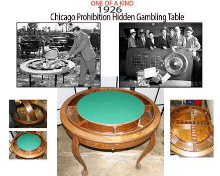 AUTHENTIC 1926 Chicago Prohibition Era Speakeasy Gambling Table with Certificate