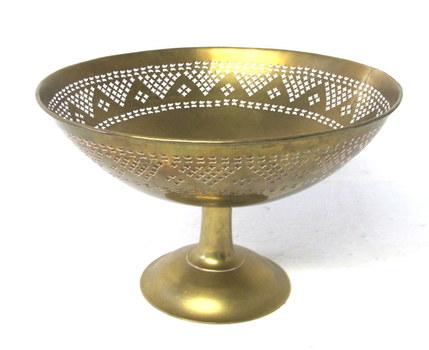 Vintage Solid Brass Large Pedestal Bowl