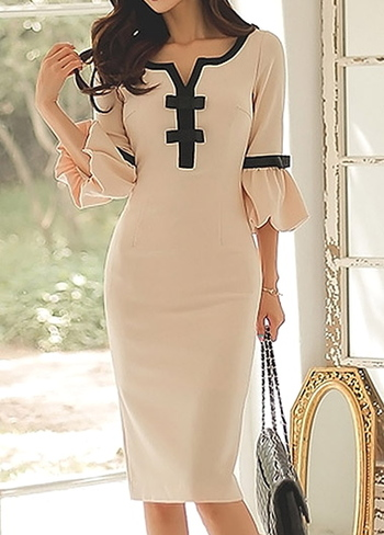 Flare Sleeve Bowknot Embellished Split Neck Beige Dress L