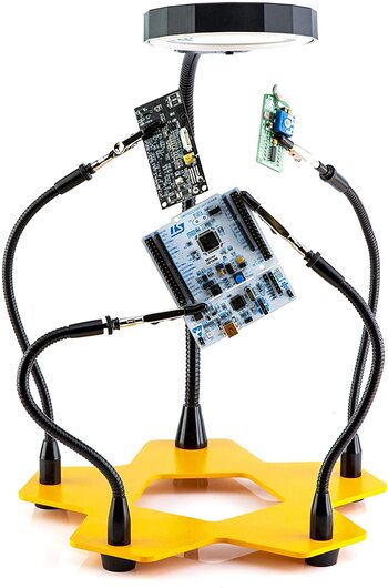 Third Hand Soldering PCB Holder Tool Quad Arms 3x LED Magnifying Station