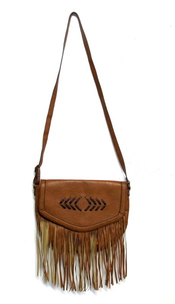 Women's Faux Leather Shoulder/Crossbody Bag with Front Fringes