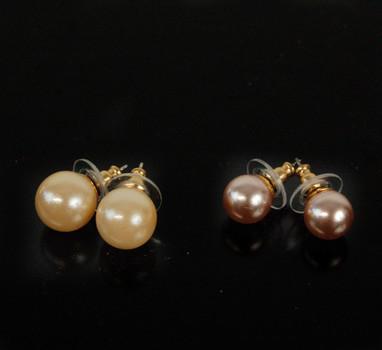 PEARL EARRINGS - 2 Pairs of Glass Pearl Earrings Fron Czechoslovakia