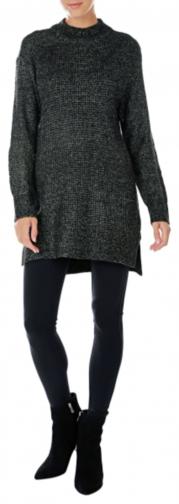 Pink Tartan Ladies Waffle Funnel Neck Tunic, Size: Small, Colour: Black, Retail: $98.00