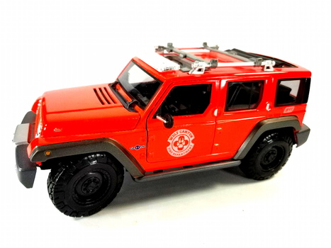 Maisto 1:18 Diecast Tactical Red Jeep Rescue Concept - Wolf Canyon Fire Department