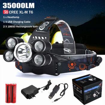 35000LM 5x XM-L T6 LED Headlight Flashlight Head Light Lamp 18650 Headlamp