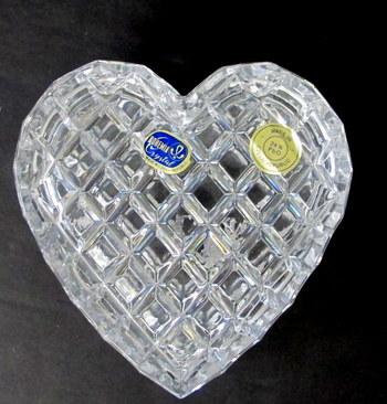 Vintage Bohemia Crystal Heart Shaped Trinket Box