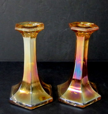 Vintage Pair of Marigold Carnival Glass Candle Stick Holders