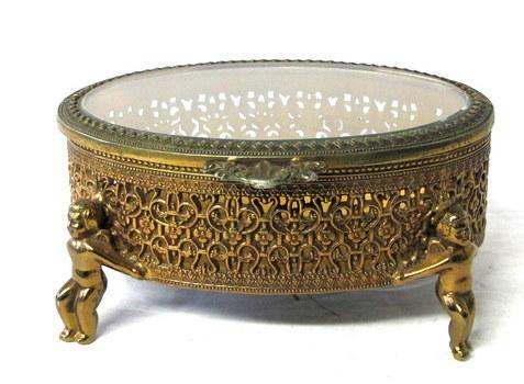 Vintage Brass Filigree Trinket Box