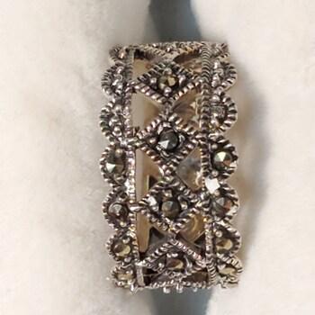 Sterling Silver Onyx Ring Sz 6