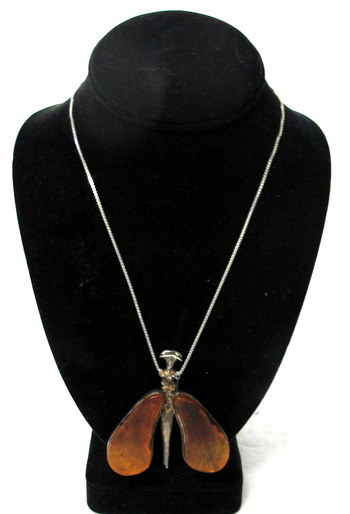 Vintage Necklace with Amber Butterfly Pendant/Brooch and Sterling Silver Chain