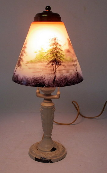 Vintage Table Lamp with Art Glass Shade-Circa 1930's