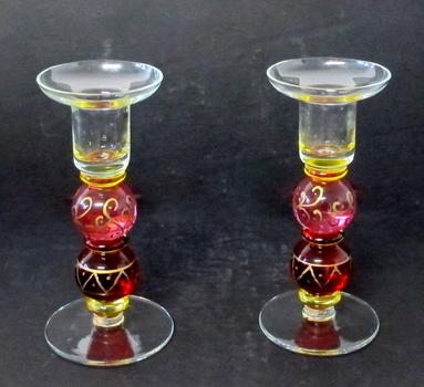 Vintage Set of Art Glass Candle Holders