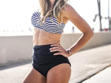 NWT Cupshe Stripe High Waist Bikini Set Size S