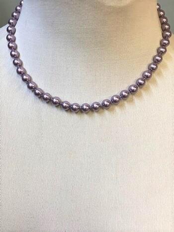 Swarovski Crystal Pearl Necklace Mauve