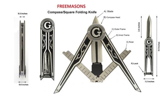 Freemason Silver Unique Masonic Folding Knife