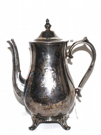 Silver Plate Tea Kettle With Hinged Lid