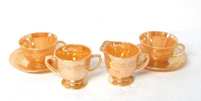 Vintage Fire King Peach Lustreware Tea/Coffee Set