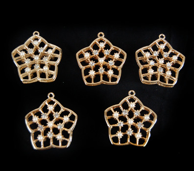 Gold Plated Crystal and Pearl Pendants - 5 PIECES