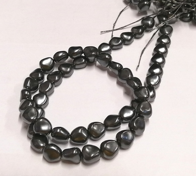 PEARLS - 11 X 9.5MM DARK GREY BAROQUE SHAPE GLASS BASE PEARLS - 600 PIECES
