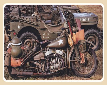 Army Jeep & Motorcycle Metal Sign