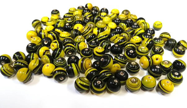 LAMP BEADS - Striped Yellow And Black Beads-Over 1Lb