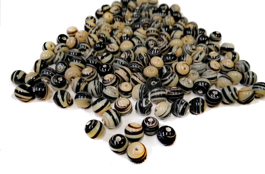 LAMP BEADS - Striped Beige And Black Beads-Over 2 Lb