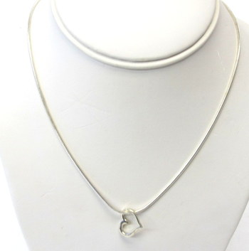 Vintage Sterling Silver Chain and Floating Heart Pendant