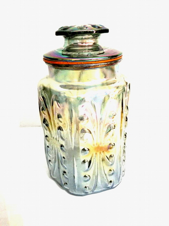 Vintage Translucent Carnival Glass Cookie Jar With Lid
