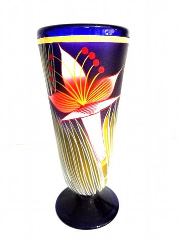 Hand Painted Art Glass Vase - Cobalt