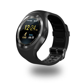 Round Android iOS Bluetooth Smart Watch Waterproof - Black