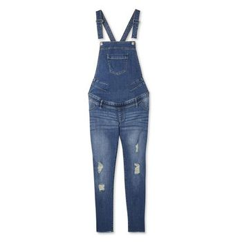 Ladies Maternity Raw Hem Destructed Overall Jeans Blue Size 18